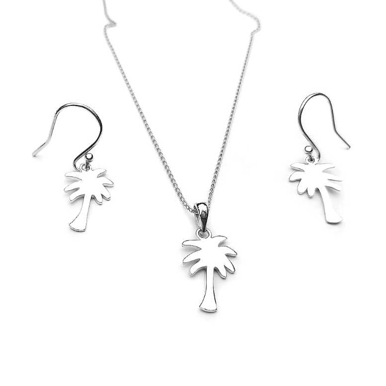 Palm Necklace And Earring Set